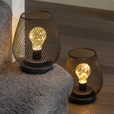 £24.95 • Buy Set Of 2 Metal Cage Table Lamps Battery Powered Cordless Accent LED Lights