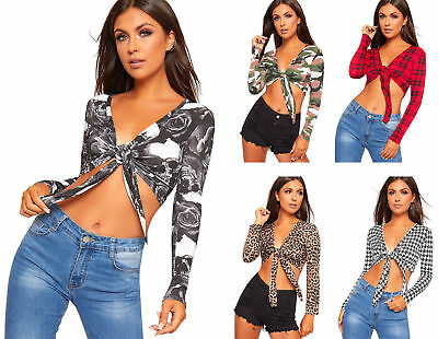 Womens Printed Tie Up Knot Front Ladies Cropped Belly Bolero Shrug Crop Top • 6.50£