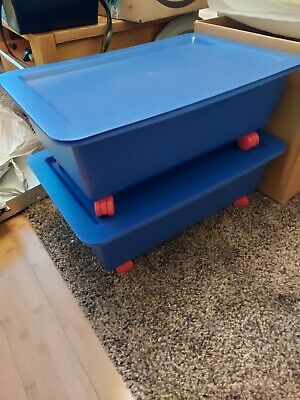 Ikea Plastic Slugis Swivel Wheels Stackable Blue Storage/toy/ Containers • 6.50£
