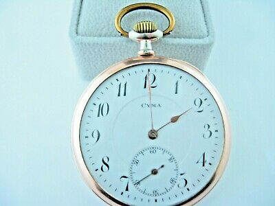 Vintage Pocket Watch Cyma Brevets .800 Silver & Rose Metal Running • 110.49£