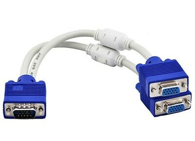 AU12.90 • Buy 30cm VGA Splitter Cable 1x Male To Dual Female Monitor Adaptor For 2 Displays