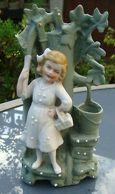 Antique Victorian Bisque Porcelain Spill Vase, Young Girl & Tree #12151, German? • 6.50£