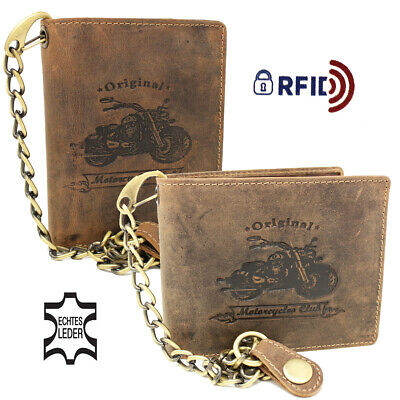 Men's Leather Biker Wallet With Chain Purse Rfid • 27.16£