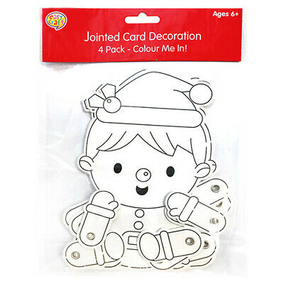 £1.99 • Buy 4 Christmas Jointed Card Decorations  - Crafts Toy Loot/Party Bag Childrens/Kids