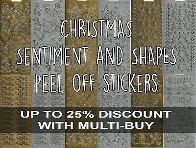 £1.50 • Buy Christmas Peel Off Outline Stickers For Cardmaking Gold Silver