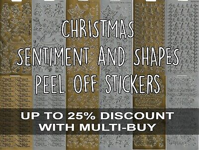£1.50 • Buy Christmas Peel Off Outline Stickers Sentiments Characters Shapes Gold Silver