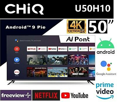 AU404.10 • Buy CHiQ U50H10 50 Inch 4K UHD HDR Android Smart LED TV ANDROID 9.0 Netflix, Youtube
