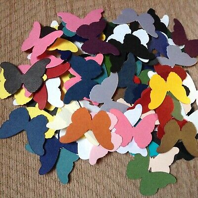 100 DIE CUT BUTTERFLYS,MIXED COLOURS,CUT IN 130g PAPER • 1£