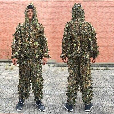 Outdoor Ghillie Suit Camouflage Clothes Jungle Suit Leaves Clothing Hunting Suit • 14.79£
