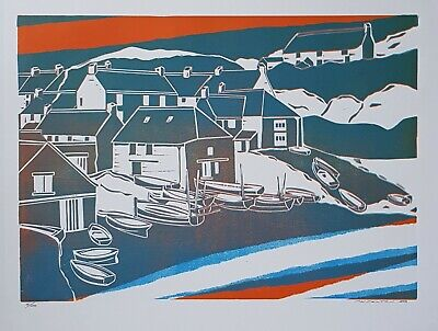 £30 • Buy  Cadgwith Cove Cornwall Linocut Print