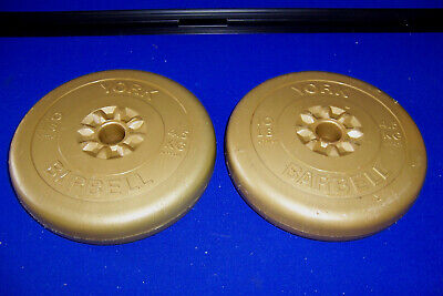 York Barbell Weights Vinyl Plastic Coated Type 2 X 4.5kg 10lbs Used Lot 3 • 35£