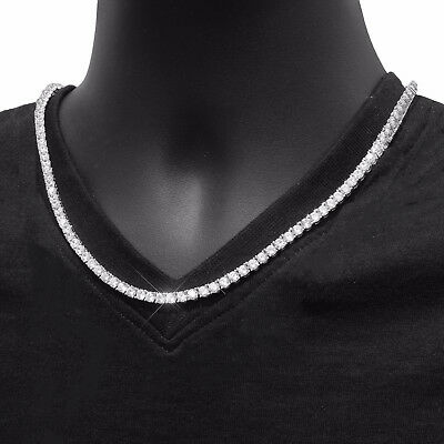 $3.99 • Buy 2 Mm 18  CZ Stoned Silver Plated Tennis Chain Necklace ITALY