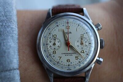 $ CDN2500 • Buy Vintage Tachymeter Enicar Chronograph, Caliber R92, 17 Jewels, Working Well
