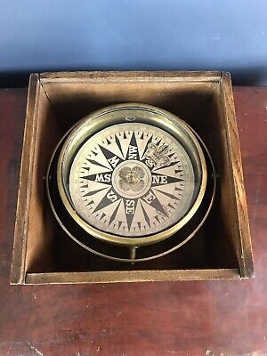 Boxed Antique 19th Century Dry Card Gimballed Ships Compass - Superb • 195£