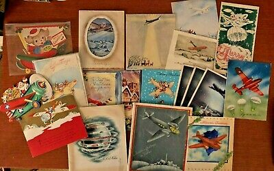 $ CDN7.19 • Buy Vintage Christmas Airplane Themed Greeting Cards Lot Of 18