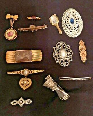 $ CDN39.26 • Buy Lot Of 12 Beautiful Vintage Jewelry  Pieces, Brooch / IsPins And 2 Scarf Clasps