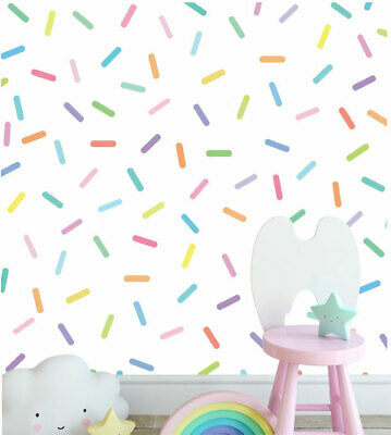 90 Pcs Pastel Rainbow Sprinkles Wall Decal Kids Nursery Stickers Baby Cot Decor • 16.47£