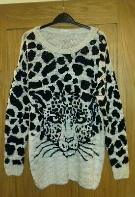 New Look Size 12 Leopard Print Jumper Chunky Slouchy Knit • 10£