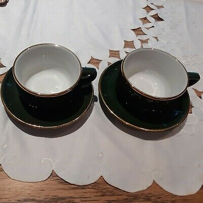 Apilco Green And Gold Coffee Cups And Saucers X 2 - French Bistro No Stamp • 0.99£