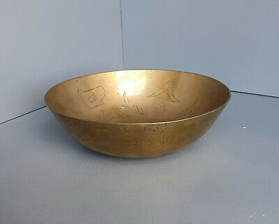 Vintage Chinese Brass Fruit Bowl - Engraved Etched Retro Old (B26) • 9.95£