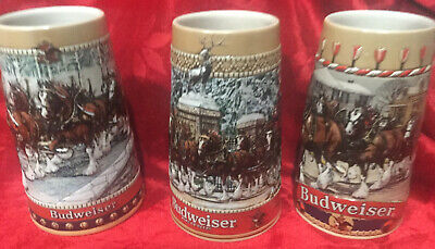 $ CDN44.13 • Buy 3 Budweiser Beer Clydesdale Steins Lot Of 3 Holiday Collectible 1986 1988: