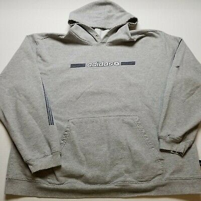 $ CDN10.45 • Buy Adidas Sweatshirt Mens 2XL Hoodie Gray Pullover Athletic Holes Spell Out M89