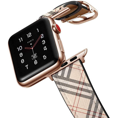 $ CDN36.34 • Buy Designer Tan Plaid Leather Apple Watch Band Strap For Series 1 2 3 4 5 6 | BB