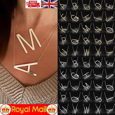 £3.99 • Buy Personalised Initial Letter Pendant Necklace Alfabet Choker Jewelry Gift Her Him