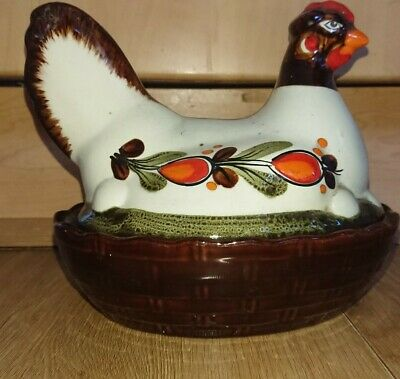 SCMRAMBERD Vintage Retro Ceramic Hen Egg Storage Basket Kitsch German • 9.99£