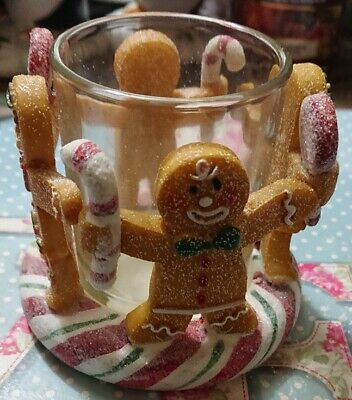 Yankee Candle Christmas Candy Cane Gingerbread Man Sparkly Votive Holder • 8.95£