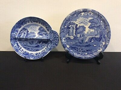 Vintage Copeland Spode's Italian Blue & White Teapot Stand C1930s & A Small Dish • 19.56£