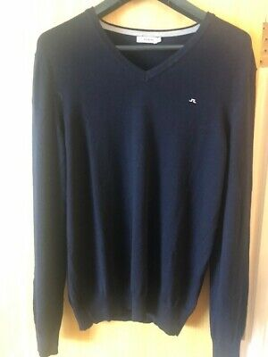 J.Lindeberg Men Jumper Navy Merino Wool V Neck Size L • 14.99£
