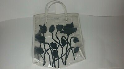 $ CDN19.64 • Buy Kate Spade New York Large Clear Tote Bag With Black Flowers Leather Strap Rare