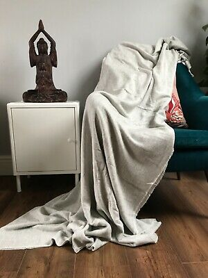 Luxury Blankets Woollen Handmade Cashmere Feel Bed Throw Extra Large  • 50£
