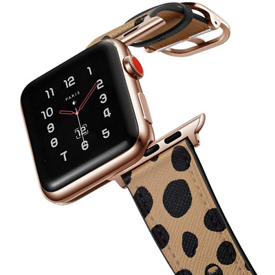 $ CDN36.34 • Buy Designer Cheetah Animal Print Leather Apple Watch Band Series 1 2 3 4 5 6 SE