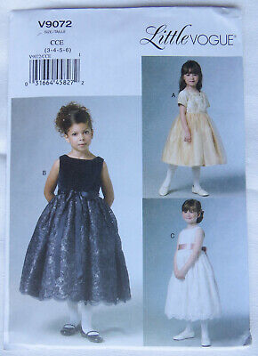 £8.75 • Buy Vogue Sewing Pattern V9072: Girls' Party / Bridesmaid Dresses 3-6 Yrs  - Uncut
