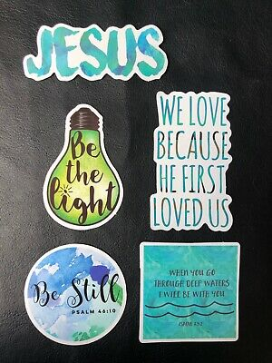 5 Positive Christian God Jesus Gloss Stickers Laptop Phone Skateboard Car Guitar • 1.75£