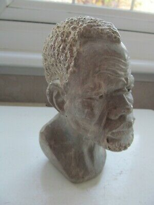 Vintage Carved Soapstone African Man's Head • 4.99£