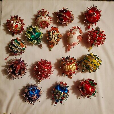 $ CDN52.25 • Buy Lot Of Vintage Hand Made Sequin Beaded Christmas Ornaments 16 Total