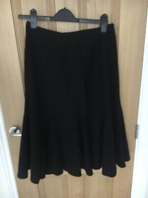 Caroline Charles 100% Wool Skirt Beautiful Hem Detail Size 12 Black • 26.99£