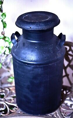$187 • Buy Antique 10 Gallon Steel Milk Can Pale With Cover, Painted Black