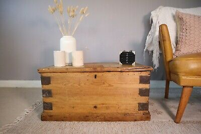 Old PINE CHEST, Wooden Blanket TRUNK, Coffee TABLE, Vintage Storage BOX • 53£