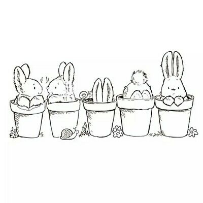 Bunny Clear Stamp - Little Easter Rabbits Bunny & Flower Pots • 5.20£