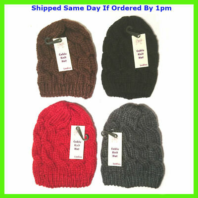 £2.99 • Buy Mens Ladies Knitted Woolly Winter Slouch Beanie Hat Cap One Size Skateboard