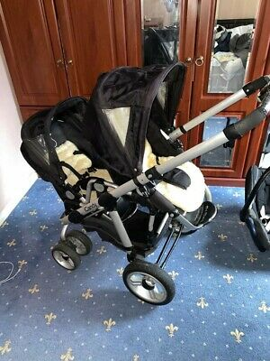 ICandy Pear Black Travel System Double Seat Stroller With Carry Cot • 155£