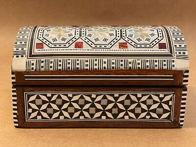 VINTAGE EGYPTIAN - Mosaic Mother Of Pearl Inlay Wood Jewellery Trinket Box Chest • 35£