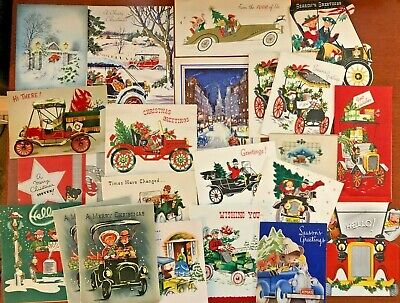$ CDN1.29 • Buy Vintage Christmas Automobile Car Themed Greeting Cards - Lot Of 22