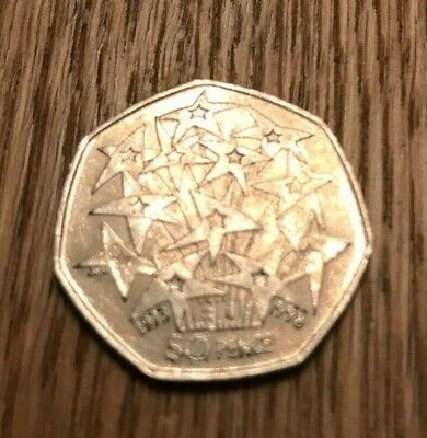 1998 European Union EU Stars UK 50p Fifty Pence Fireworks BREXIT! Freepost Coin • 1.80£