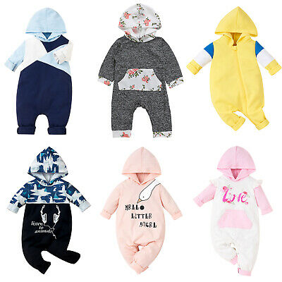 AU17.49 • Buy Newborn Baby Boys Girls Hooded Romper Jumpsuit Clothes Toddlers Outfit Babygrows