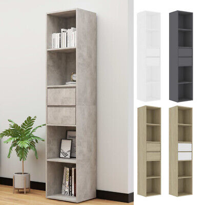 Book Cabinet Shelving Display Storage Cupboard Bookcase With 4 Shelves 2 Drawers • 133.53£